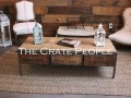 Coffee Table - 3 Short Grape Crates in Custom Made Industrial Metal Frame.  We can Fabricate to ANY size.