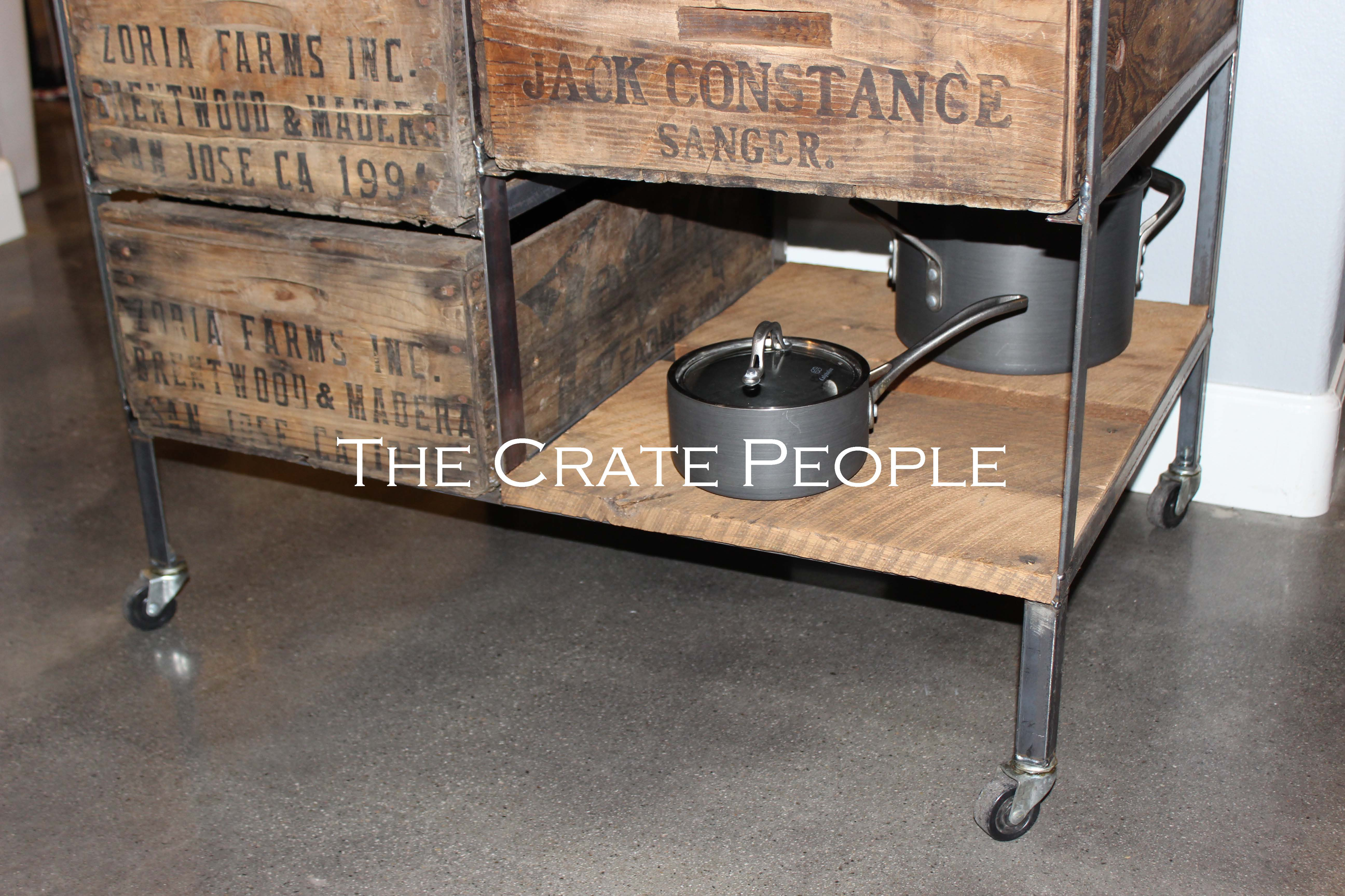 Kitchen Island Crate bo on Casters
