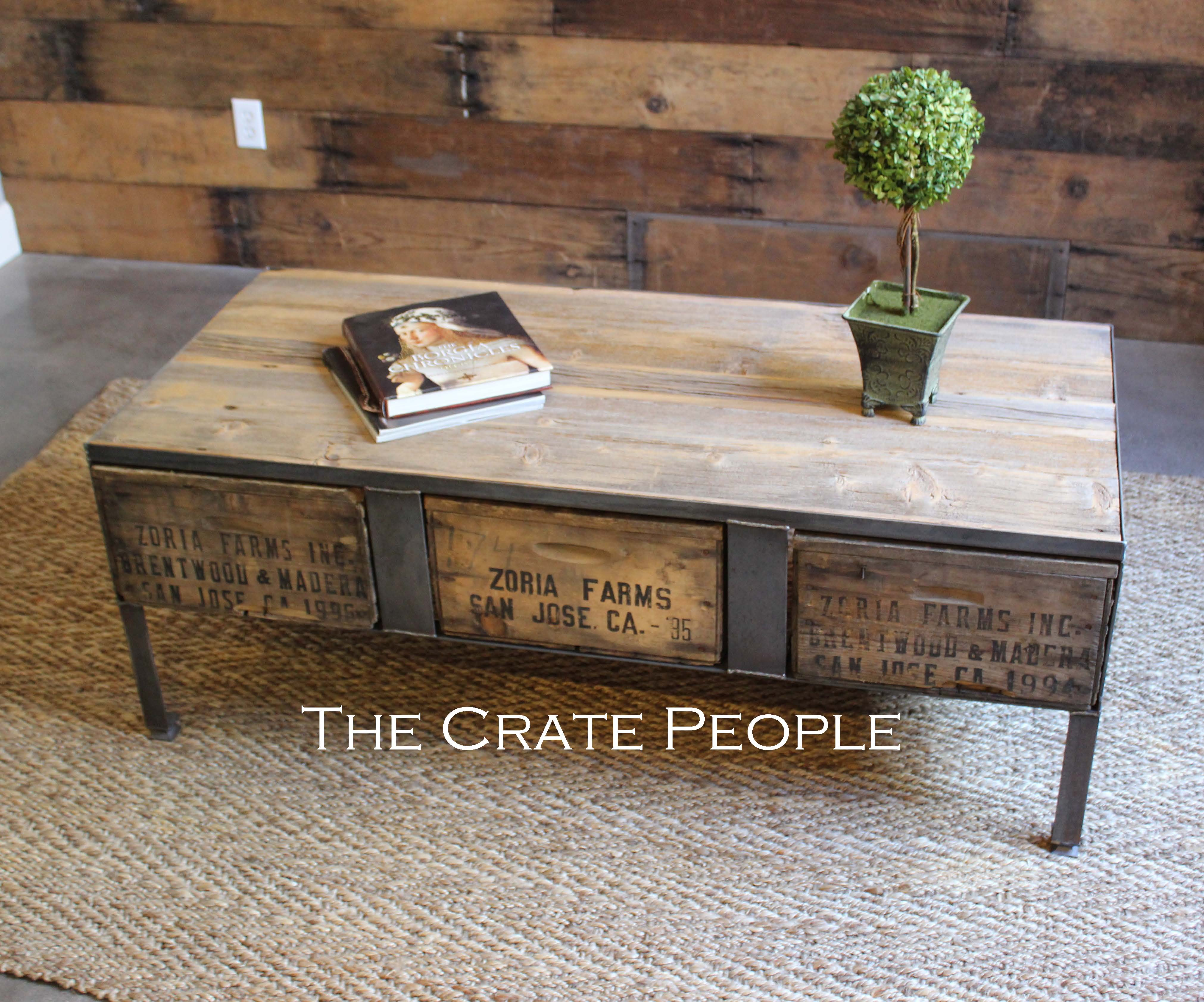 3 Zoria Crate Industrial Coffee Table