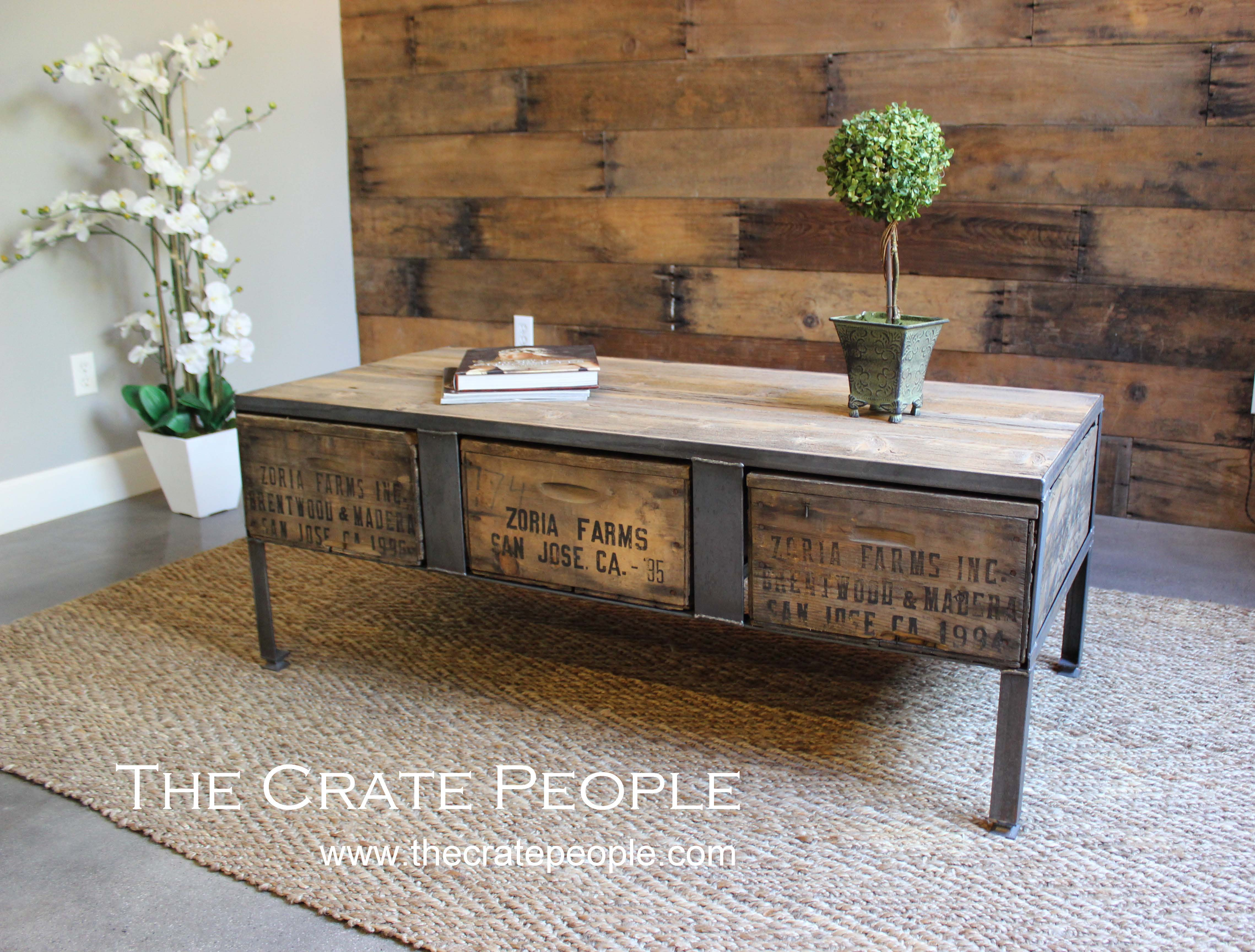Zoria Crate Industrial Coffee Table The Crate People