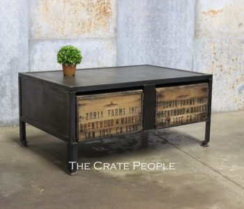 Custom Industrial Metal Furniture with Crates! - Parisian Patina with a fresh coat of Polyurethane