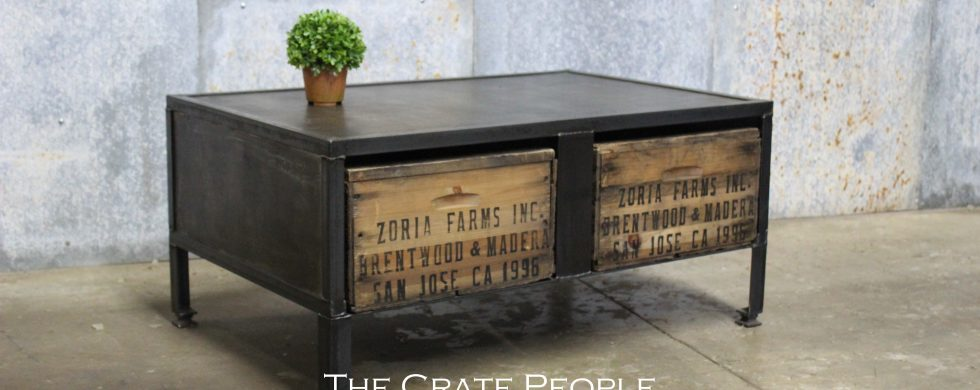 Custom Industrial Metal Furniture With Crates!   Parisian Patina With A  Fresh Coat Of Polyurethane